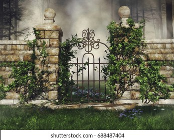 Garden gate with green vines on a meadow. 3D illustration