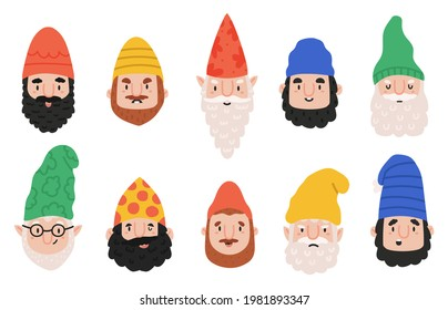 Garden gnomes emotions. Cute dwarf characters avatar, happy, funny and angry gnome faces. Dwarf fairy tale emoji mascots  illustration set. Magical creatures cartoon stickers