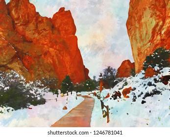 Garden Of The Gods Snow Double Watercolor