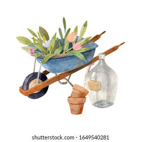Garden hand borrow with flowers, clay pots and glass bottle - watercolor gardening illustration. Perfect graphics for garden party invitations, print, greeting cards, wrapping paper.