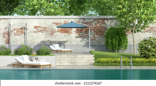 Garden with large swimming pool and lush vegetation - 3d rendering