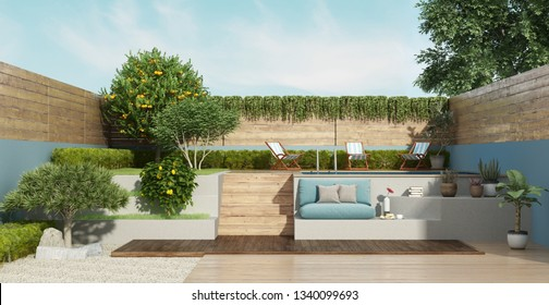 Garden on two levels with a small pool and lush vegetation - 3d rendering