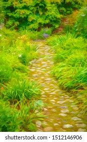Garden path of large stones and moss between beds of ornamental foliage in a coastal town in Maine, USA, near the end of summer, with digital painting effect