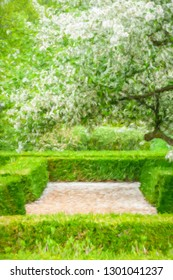 Garden path strewn with white petals from Japanese flowering crabapple (binomial name: Malus floribunda) above trim green hedges in spring, with digital impasto effect