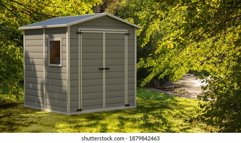 Garden shed on nature green background. Gray color gardening tools storage shed in the house backyard. 3d illustration