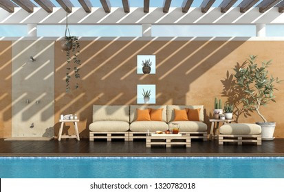 Garden of a summer house with pool and pallet sofa ubder pergola - 3d rendering