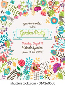 Garden or summer party invitation poster