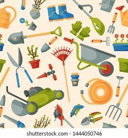 Garden tool gardening equipment rake or shovel and lawnmower of gardener farm collection or farming set illustration seamless pattern background