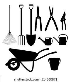 Garden Tools, Instruments Flat Icon Collection Set. Shovel, bucket, rake, secateurs, scissors, wheelbarrow and watering  Illustration
