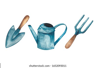 Garden tools, watering can, shovel and hoe. Watercolor painting, individual elements.