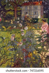 Garden at Vaucresson, by Edouard Vuillard, 1920, French Post-Impressionist painting. The two women almost lost among the plants are Lucy Hessel and her cousin. The house emerges clearly above the rich