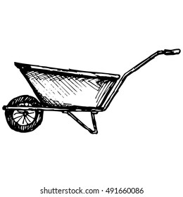 Garden wheelbarrow. Illustration, doodle style. Raster version