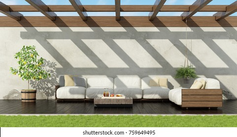 Garden with white pallet sofa on dark wooden floor - 3d rendering