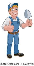 A gardener, handyman or farmer cartoon caretaker contractor man holding a garden spade tool. Giving a thumbs up