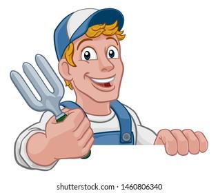 A gardener, handyman or farmer cartoon caretaker contractor man holding a garden fork tool. Peeking over a sign