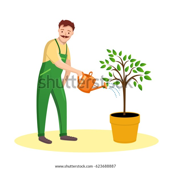 Gardener Man on white background. Illustration Farmer with watering can in flat style.Gardener Man watering the tree.