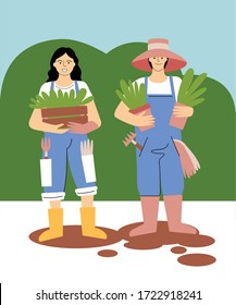 Gardeners. Work in the garden. Digital illustration. Can be use as print, postcard, invitation, greeting card, packaging design, textile, book, web, or magazine illustration.