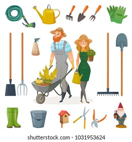 Gardening cartoon icon set with attributes and elements for work in garden  illustration