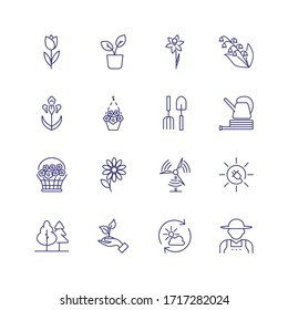 Gardening icons. Set of line icons on white background. Flowers, gardening tools, agricultural worker. Floriculture concept. Can be used for topics like plants, botany, agriculture