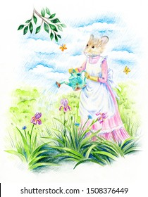 Gardening. A mouse in Victorian clothes pours its irises from a watering can in the garden. Cloudy sky on a background. The symbol of the New Year 2020. Year of the rat.