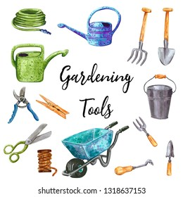 Gardening tools clip art set,  hand drawn watercolor illustration isolated on white