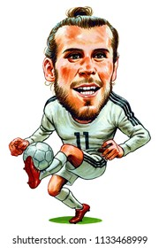 . Gareth Frank Bale is a Welsh professional footballer who plays as a winger for Spanish club Real Madrid and the Wales national team. Illustration,Caricature,Design,July,13,2018