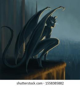 Gargoyle awakening on the top of a cathefral