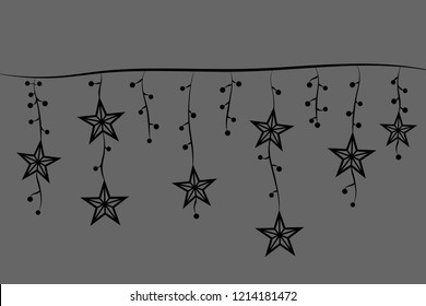 Garland of asterisks and black style