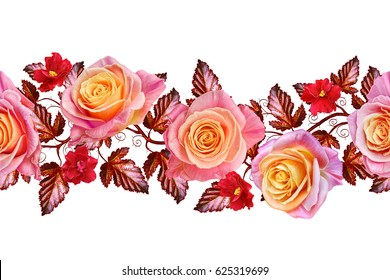 Garland, a bouquet of delicate pink and yellow roses, bright red flowers. Floral horizontal border. Seamless pattern. Isolated on white background.