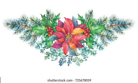 Garland with a Christmas tree, holly, poinsettia, eucalyptus. Watercolor hand painting illustration isolated on white background.