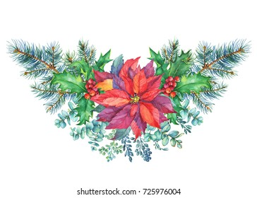 Garland with a Christmas tree, holly, poinsettia. Watercolor hand painting illustration isolated on white background.