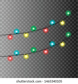 Garland. This illustration shows a garland. It has a lot of lights of different colors. Garland has a slanted view. The illustration itself is drawn on a light chess background.