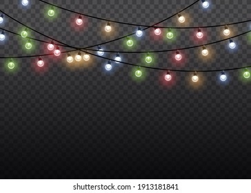 Garlands decorations. Colorful glow light lamp on wire strings isolated transparent background. Christmas lights isolated realistic design elements. Christmas glowing garland.
