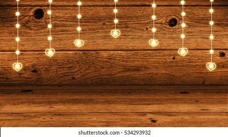 garlands of lights with gleaming hearts - 3d rendering