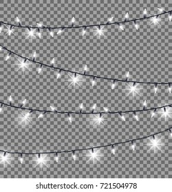Garlands with round bulbs on dark transparent background. Christmas lights design elements with black ropes and light lamps.  illustration of festive holiday card with lightning objects