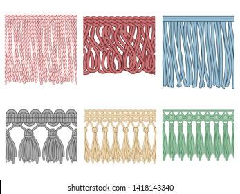 Garment fringe. Ruffle seam trim, raw textile edge and tassel braid ruffles. Fashion frills tools, yarns material fabric. Isolated seamless patterns illustration icons set