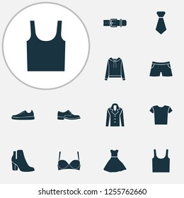 Garment icons set with evening gown, gumshoes, male footwear and other sundress elements. Isolated  illustration garment icons.