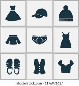 Garment icons set with pompom, pants, sandal footwear elements. Isolated  illustration garment icons.