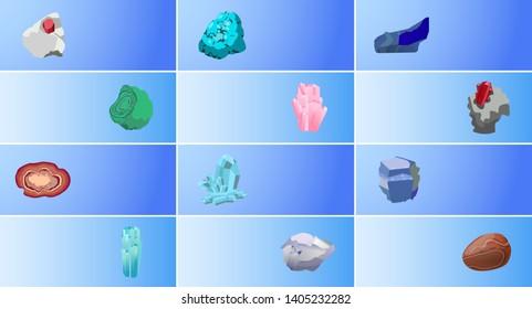 Garnet lazurite diamond aquamarine ruby malachite agate sapphire carnelian rhinestone turquoise precious gemstones set raster web banners