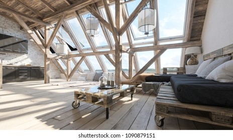 Garret Interior design. Wooden beams in the attic. 3d illustration