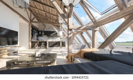 Garret Interior design. Wooden beams. Modern interior design in loft style. 3d illustration