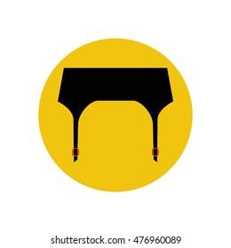 Garter belt illustration on the yellow background. illustration