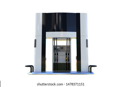gas canopy column 3d render