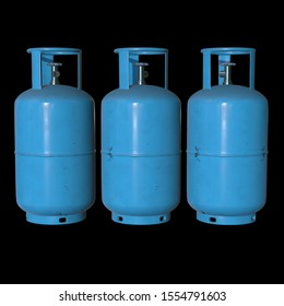 Gas cylinder lpg tank gas-bottle. Propane gas-cylinder balloon. Cylindrical container with liquefied compressed gases with high pressure and valves 3d render on black background