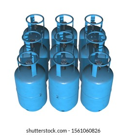 Gas cylinder lpg tank gas-bottle. Propane gas-cylinder balloon. Cylindrical container with liquefied compressed gases with high pressure and valves 3d render isolated on white background