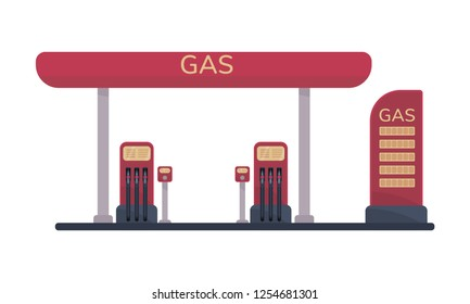 Gas filling or petrol station. Illustration isolated on white background