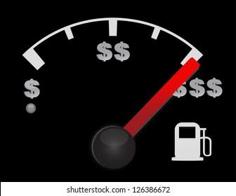 Gas gauge of a car with dollar symbols illustration design