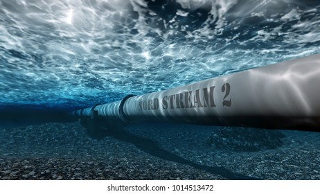 gas pipe Nord stream 2 under water 3D