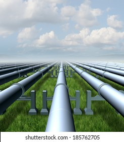Gas pipeline concept as a group of metal pipes transporting liquids and fuel energy gases and petroleum oil products as a symbol of  distribution and transportation of power commodities.