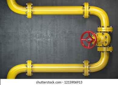 Gas pipeline valve on a wall. Space for text. Gas pressure control. 3d illustration